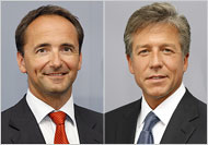 Jim Hagemann Snabe, left, and Bill McDermott were appointed co-chief executives of the German software maker.